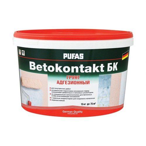 Грунтовка для повышения адгезии Бетоноконтакт ПУФАС БК-Ф для наруж.и внутр. работ мороз. 15кг