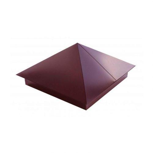 Колпак на забор с выпуском 400х400 коричневый