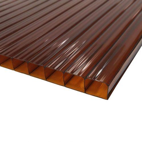 Поликарбонат сотовый стандарт 6мм коричневый 2.10х12.0 (п.м.)