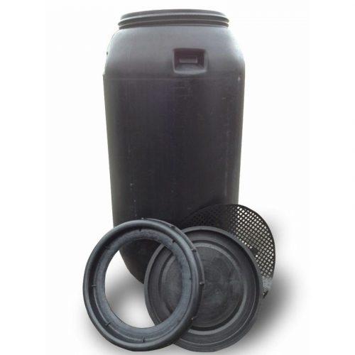 Бочка пластмассовая черная с крышкой 250л
