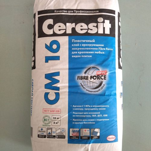 Клей плиточный эластичный ЦЕРЕЗИТ СМ16, 25кг