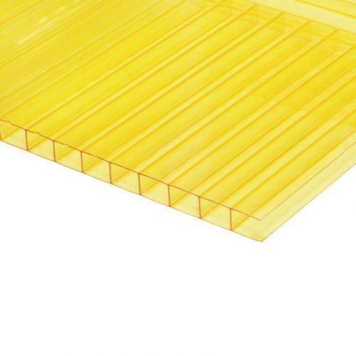 Поликарбонат сотовый стандарт 4мм желтый 2.10х12.0 (п.м.)