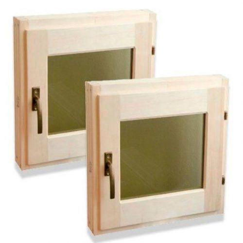 Окно банное липа со стеклопакетом 30х30