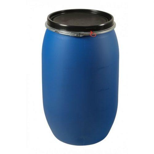 Бочка пластмассовая синяя с крышкой 130л