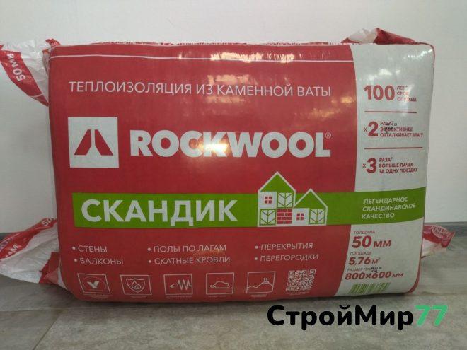 Утеплитель Роквул Лайт Баттс Скандик 1000х600х50 мм, 5,76 м² (пачка 12 шт.)